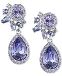 Givenchy Silver Tone Purple Crystal And Pave Drop Earrings