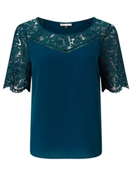Jacques Vert Lace Top Mid Green