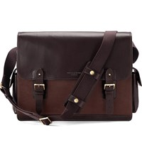 Aspinal Of London Shadow Large Leather Messenger Bag Brown