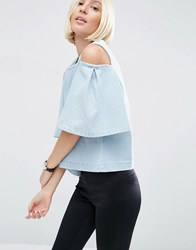 Asos White Denim Cut Out Frill Shoulder Top Blue