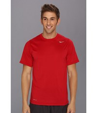 Nike Legend Dri Fit Poly S S Crew Top Gym Red Carbon Heather Medium Grey Men's Short Sleeve Pullover