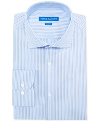 Vince Camuto Slim Fit Blue And Teal Dobby Stripe Dress Shirt