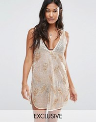 Wolf And Whistle Sequin Beach Dress Gold