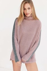 Silence And Noise Racer Stripe Turtleneck Sweater Pink