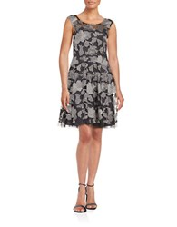 Vera Wang Embroidered Fit And Flare Dress Black Silver