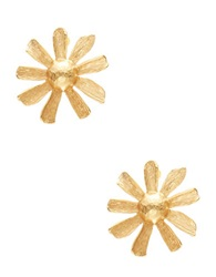 Gerard Yosca Large Flower Button Stud Earrings Gold