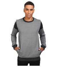 Adidas Elevated Crew Neck Black Melange Black White Men's Long Sleeve Pullover Gray