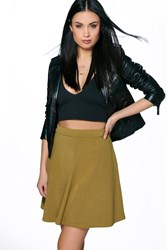 Boohoo Fit And Flare Skater Skirt Olive