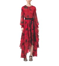 Poppy Print Silk Chiffon Tiered Dress