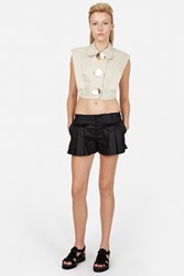 Opening Ceremony Arden Linen Pleat Shorts Black