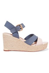Paloma Barcelo Ceralin Leather Espadrille Wedge Sandals Blue