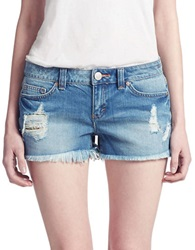 Dittos Misty Frayed Denim Shorts Blue