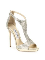 Jimmy Choo Glitter And Leather T Strap Sandals Silver