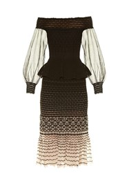 Alexander Mcqueen Off The Shoulder Peplum Waist Midi Dress Nude Multi