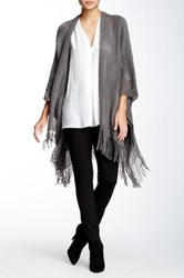 Max Studio Fringed Blanket Sweater Gray