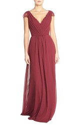 Women's Hayley Paige Occasions Lace And Chiffon Cap Sleeve Gown Burgundy