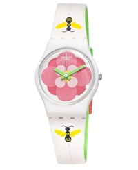 Swatch Women's Swiss Flower Jungle Two Sided Off White Bee And Green Silicone Strap Watch 25Mm Lm140 Multi