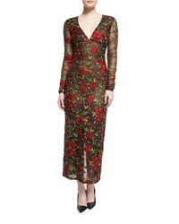 Naeem Khan Long Sleeve Rose Embroidered Organza Dress Black Red