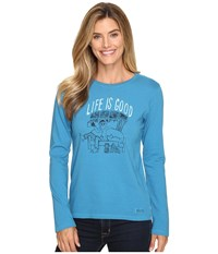 Life Is Good Painted Apres Ski Long Sleeve Crusher Tee Denim Blue Women's Long Sleeve Pullover
