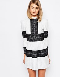 Sister Jane Lady V High Neck Lace Smock Dress Multi