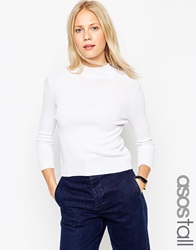 Asos Tall Baby Rib Jumper With Turtle Neck In Structured Knit White