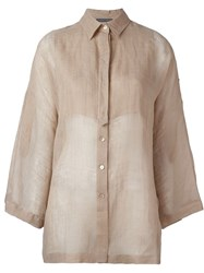 Alberta Ferretti Bell Sleeve Shirt Nude And Neutrals
