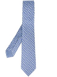 Bulgari Coffee Print Neck Tie Blue