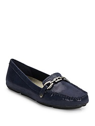 Ak Anne Klein Embossed Buckle Trim Loafers