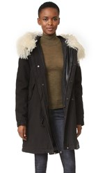 Mr And Mrs Italy Mini Army Parka With Fur Trim Army White