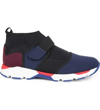 Marni Colour Block Neoprene High Top Trainers Eclisse Deep Purple