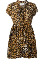 Saint Laurent Tiger Print Pleated Skirt Dress Brown