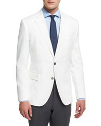 Hugo Boss Waffle Stitch Cotton Two Button Sport Coat White Men's