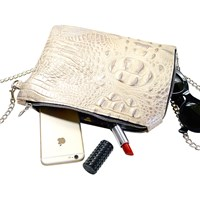 Rorin Embossed Frannie Clutch Champagne Silver