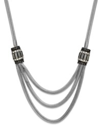 Inc International Concepts Silver Tone Herringbone Triple Row Necklace