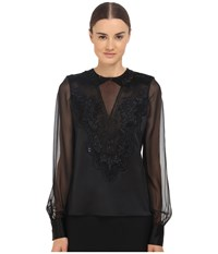 Prabal Gurung Embroidered Sheer Blouse Black