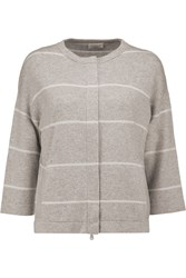 Brunello Cucinelli Metallic Striped Cashmere Cardigan Gray