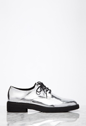 Forever 21 Metallic Faux Patent Oxfords Silver