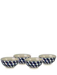 Pols Potten Set Of 4 Painted Bone China Bowls