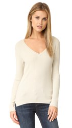 525 America Variegated Rib V Neck Sweater French Vanilla