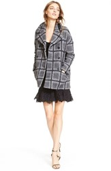 Women's Joie 'Falotte' Oversize Check Wool Blend Coat Dark Heather Grey