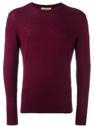 Burberry Elbow Patch Jumper Red