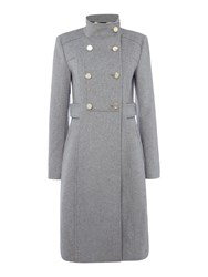 Eliza J Wool Blend Military Coat Grey