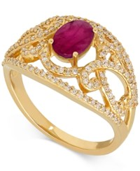 Macy's Ruby 1 1 5 Ct. T.W. And Diamond 3 8 Ct. T.W. Openwork Ring In 14K Gold Yellow Gold
