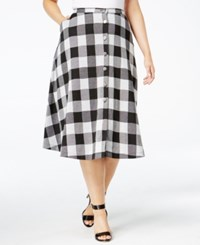 Ny Collection Plus Size Button Front A Line Skirt Jet Motley