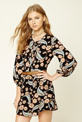 Forever 21 Pleated Floral Print Dress Black Salmon