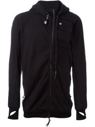11 By Boris Bidjan Saberi Long Fit Asymmetric Zip Hoodie Black
