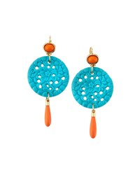 Kenneth Jay Lane Golden Turquoise And Coral Hue Triple Drop Earrings Women's