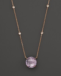 Bloomingdale's Amethyst Pendant Necklace With Diamond Stations In 14K Rose Gold 16