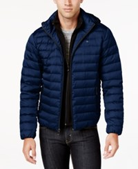 Calvin Klein Men's Packable Hooded Puffer Coat Navy Melange
