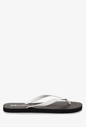 Forever 21 Colorblocked Flip Flops Black White
